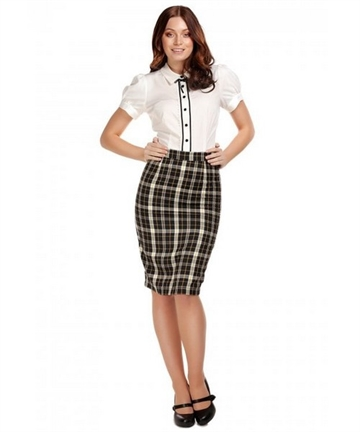 Polly Check Pencil Skirt